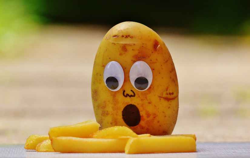 brown potato in front of french fries