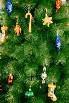 close up photo of christmas tree with ornaments